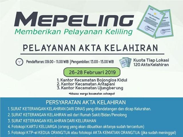 Jadwal Mepeling Akta Kelahiran Disdukcapil Kota Bandung 26 - 28 Februari 2019