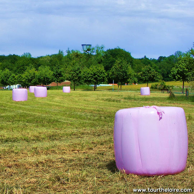 Pink hay bales, used for raising awareness and fundraising for breast cancer research, Vienne, France. Photo by Loire Valley Time Travel.