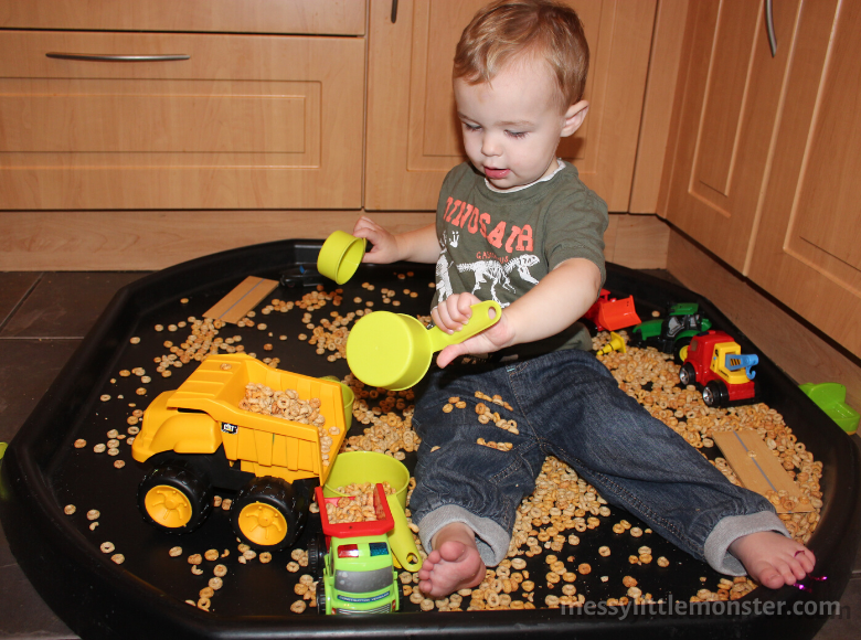 activities for babies - construction sensory bin