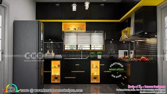 Black yellow kitchen interior