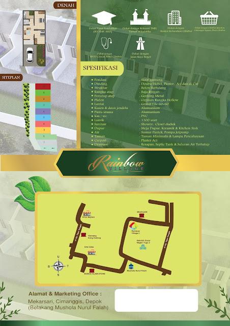 Jual Rumah Cluster Rainbow Village 2 di Depok Jalan Radar Auri 2