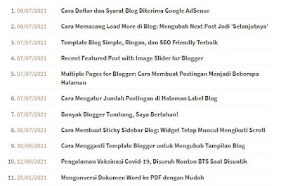 Daftar Isi Berdasarkan Tanggal Publikasi