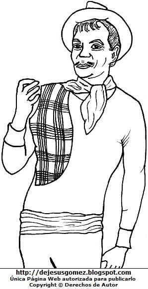 Ilustración de Cantinflas de pie para colorear, pintar o imprimir. Dibujo de Cantinflas de Jesus Gómez