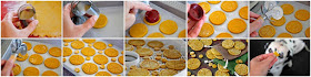 Step-by-step making homemade pumpkin dog treats stamped to look like pies