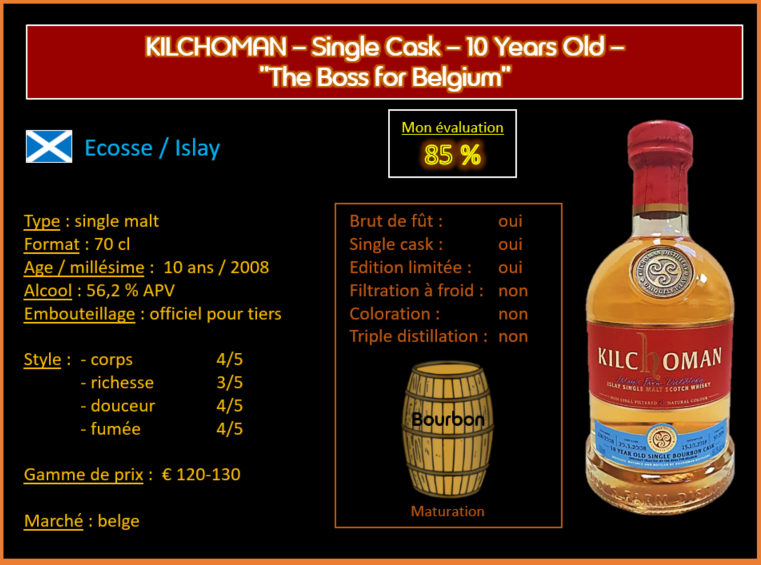 """Review #572 : Kilchoman – 10 Years Old – Single Cask – """"The Boss for Belgium"""""""
