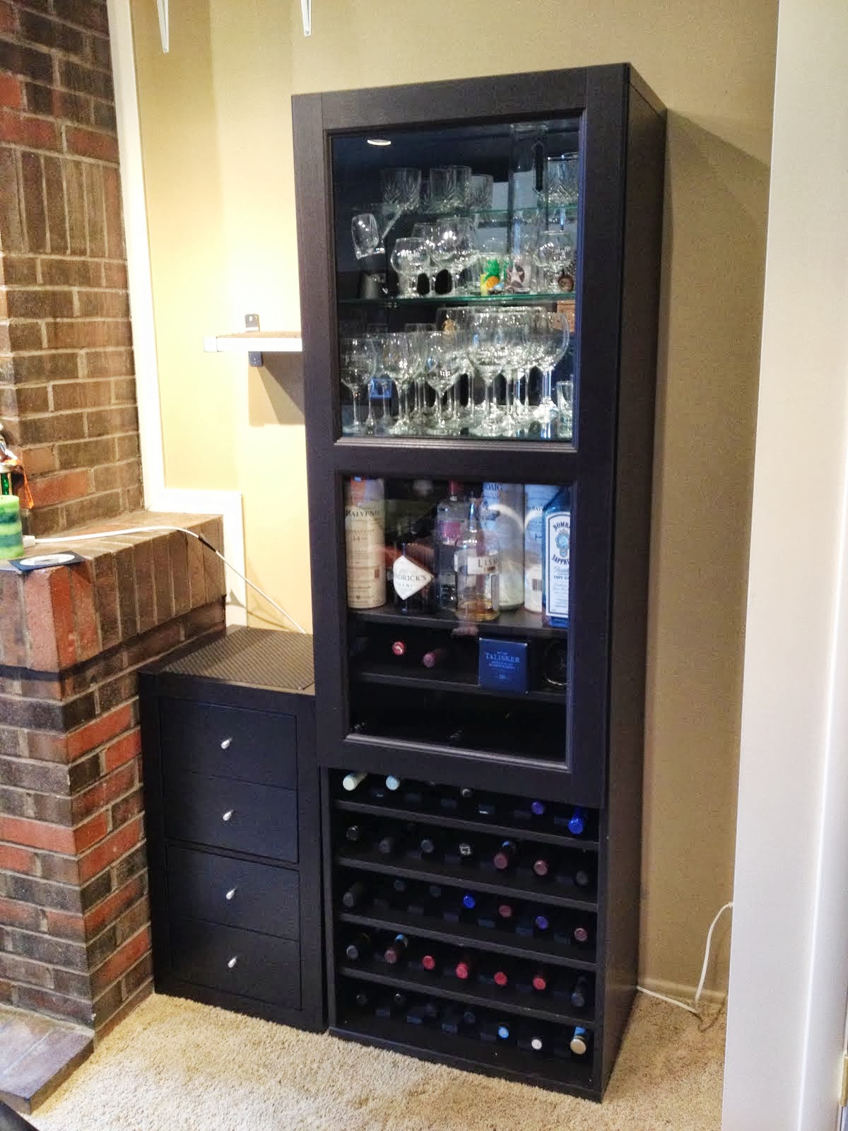 JN Taylor and Co Besta Wine Rack and Liquor Cabinet By