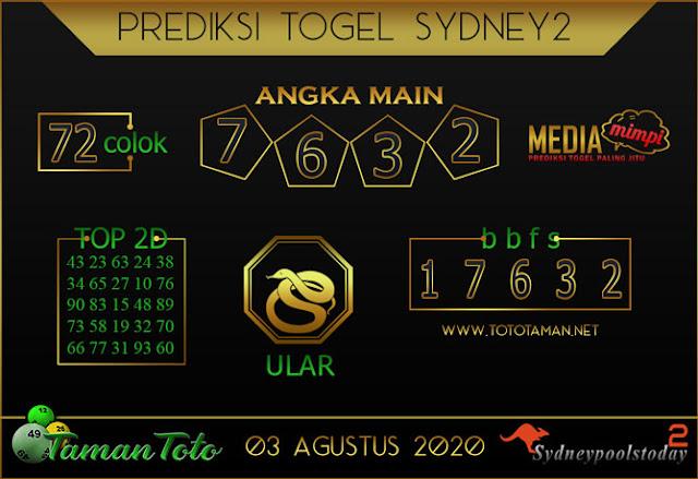 Prediksi Togel SYDNEY 2 TAMAN TOTO 03 AGUSTUS 2020