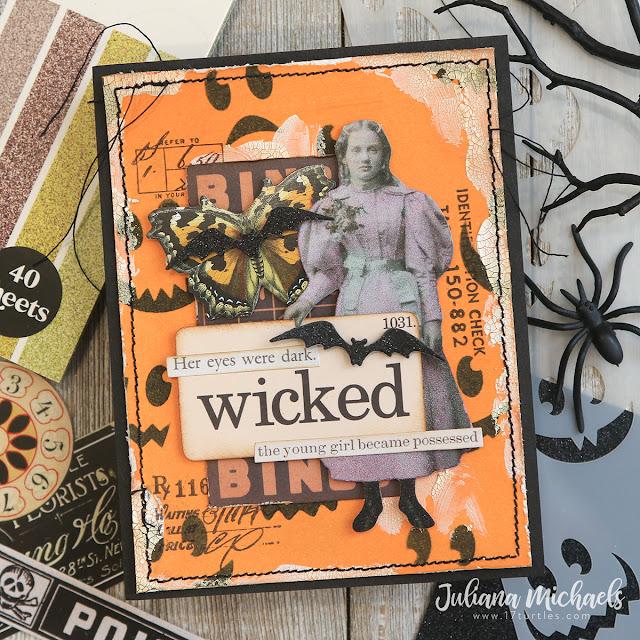 Wicked Halloween Card by Juliana Michaels featuring Scrapbook.com Jack O Lantern Stencil and Tim Holtz Halloween Ephemera and Paper Dolls