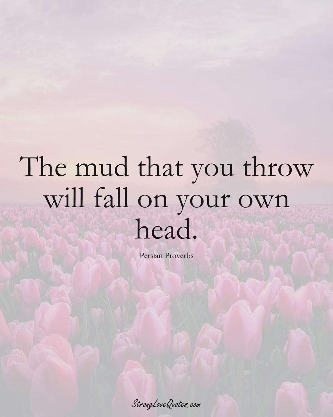 The mud that you throw will fall on your own head. (Persian Sayings);  #aVarietyofCulturesSayings