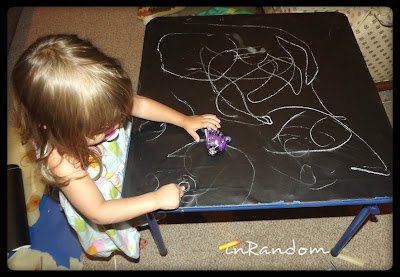 using chalkboard decals on old tables