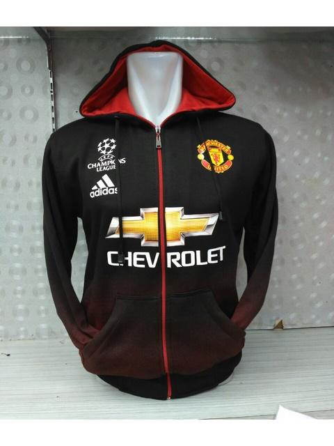 Jual jaket hoodie Manchester United warna hitam gradasi merah terbaru