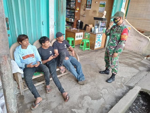 Diwilayah Binaan Personel Jajaran Kodim 0207/Simalungun Laksanakan PPKM Dengan Himbau Patuhi Protokes