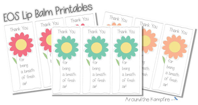 Flower EOS Lip Balm FREE Printable Thank You Tags