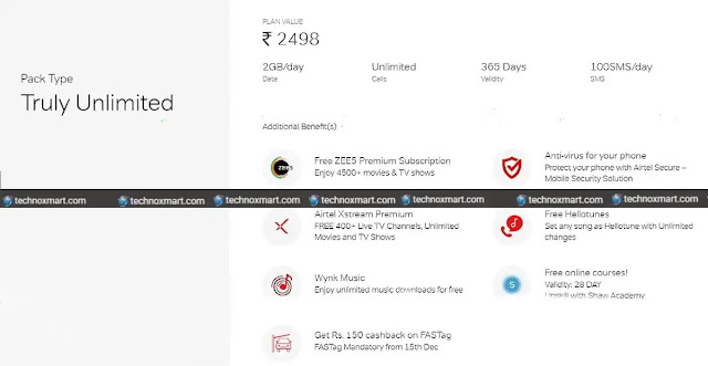 Airtel New Rs 2 498 Prepaid Recharge Plan Launched Check Plan Benefits More Technoxmart