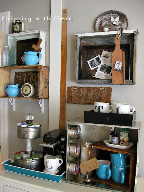 Chipping with Charm:  Getting Organized with Junk, Drawers and Crates Coffee Station...http://chippingwithcharm.blogspot.com/