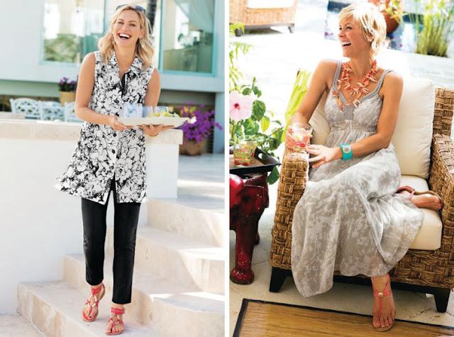 Девушки в платьях и брюках с цветными минималистскими сандалиями