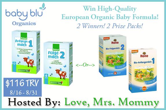 Giveaway! Baby Blu Organics Baby Formula open to US & Canada