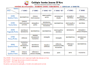 Avaliações do Ensino Fundamental I 2º Bimestre CSJD.
