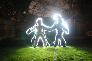 Light painting in the garden - the outlines of Top Ender and Dan Jon