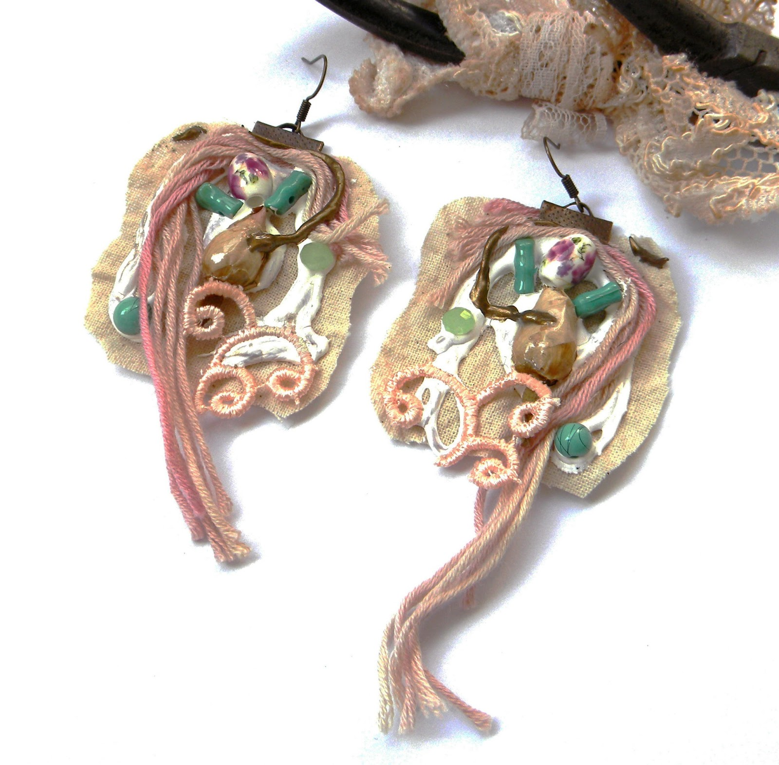 Shabby Eco Friendly Earrings Organic Jewelry Fashion Art Jewelry