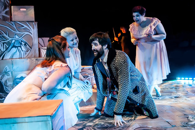 Wagner: Das Rheingold -The Rhinemaidens (Angharad Lyddon, Kiandra Howarth, Claire Barnett-Jones) and Alberich (Seth Carico) - Grimeborn Festival (Photo Lidia Crisafulli)