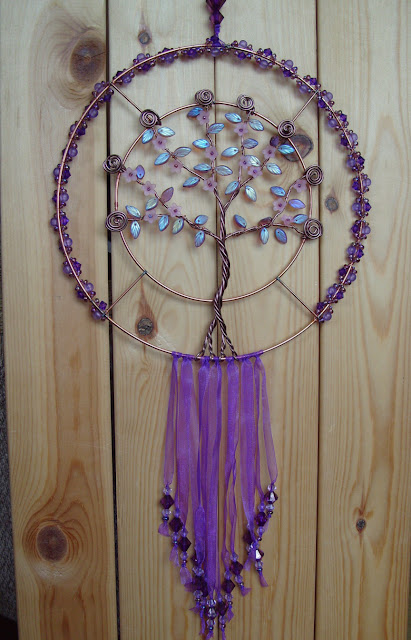 wall decoration, amethyst leaves, purple organza ribbon, beads