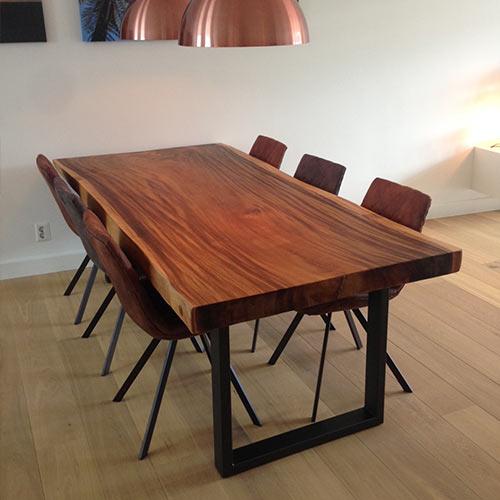 Meja Makan Kayu Trembesi Kaki Besi Furniture Craft Jepara