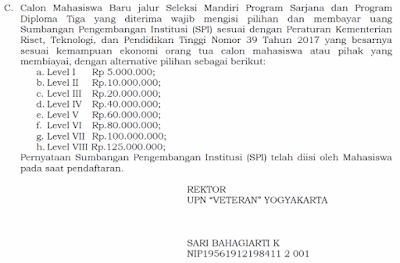 Biaya Seleksi Mandiri UPN Veteran Yogyakarta Terbaru