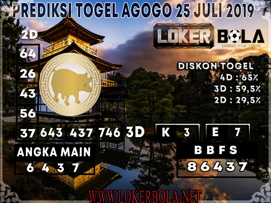 PREDIKSI 4D AGOGO LOKERBOLA 25 JULI 2019