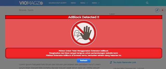 Tampilan Fitur Anti AdBlock Safelink Viomagz V3.2 Fitur 2 Tombol