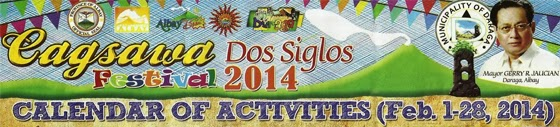 Cagsawa Dos Siglos Calendar of Activities 2014