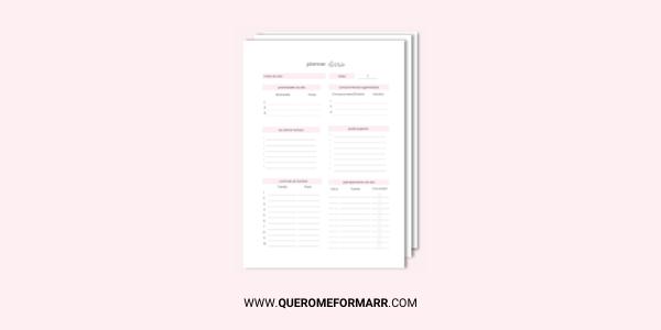 Planner Diário Gratuito e Personalizado para Download e Impressão