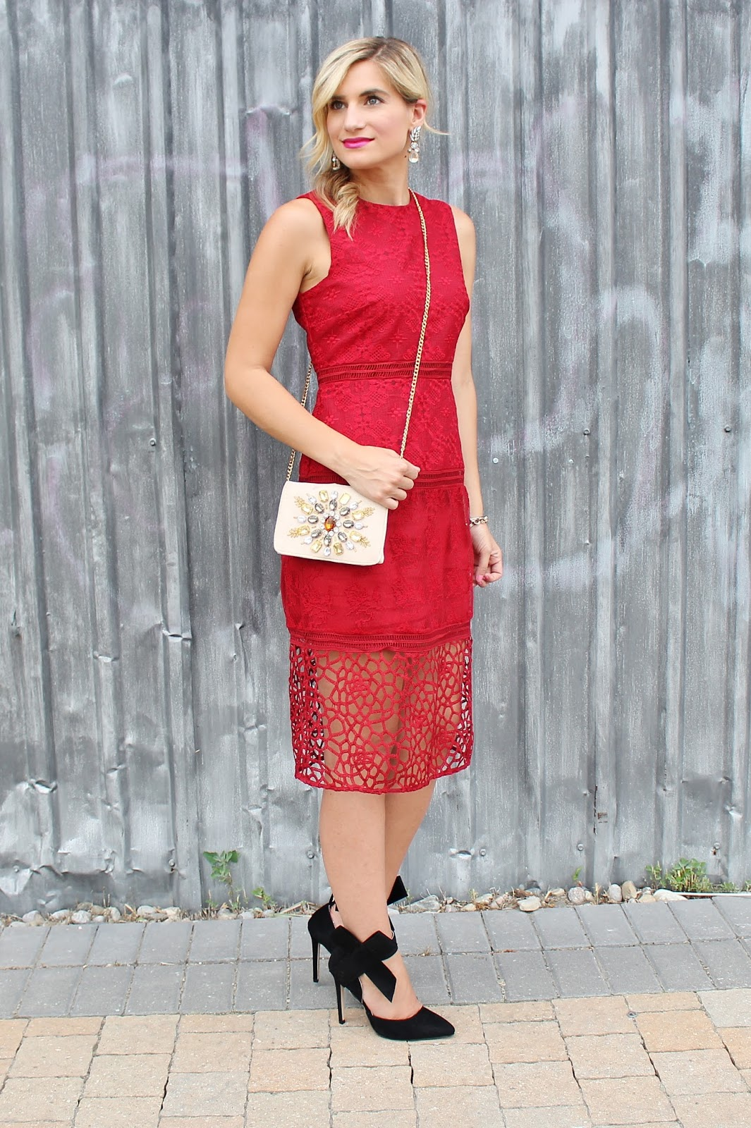 bijuleni - Zara red lace midi dress