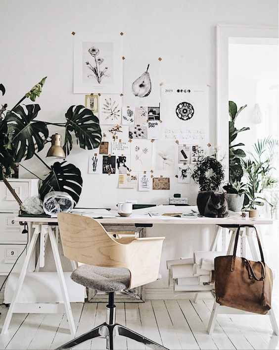 Add Some Greenery In The Office  For More Productivity- design addict mom
