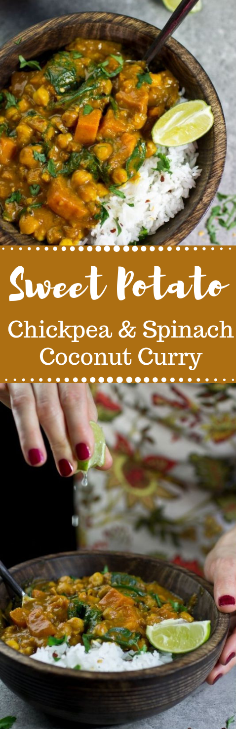 Sweet Potato, Chickpea and Spinach Coconut Curry #potato #coconut #vegan #chickpea #healthy
