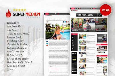 Supermedium Featured Random Responsive Blogger Template