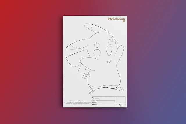 Free Printable Anime Pokemon Pikachu Coloriage Outline Character Blank Coloring Page pdf For Kids Kindergarten Preschool toddler coloring sheets