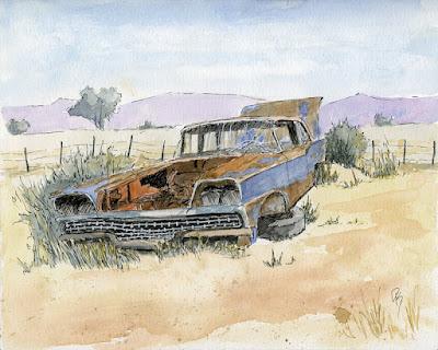 art pen watercolor abandoned Ford car