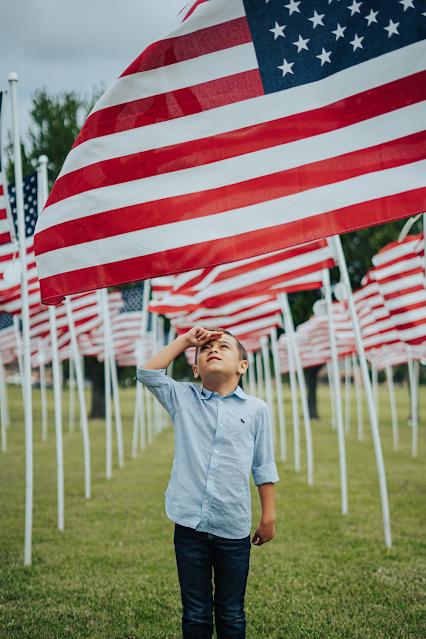 American Flags Boy Salute