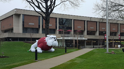Boomer sits on the grass on the Dean campus