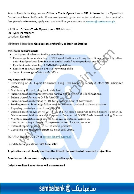 Samba Bank Ltd Jobs Officer Trade Operations-ERF & Loans