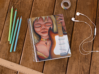 There's Dust on My Guitar Notebook by TET. Available from Redbubble.