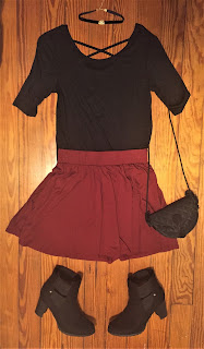 burgundy circle skirt outfit of the day
