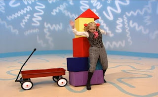 While Ms. Noodle is dancing, she hits the tower and the tower collapses. Sesame Street Elmo's World Building Things The Noodle Family