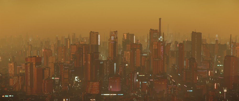 Mars city in a sandstorm (Star Citizen MMO game)