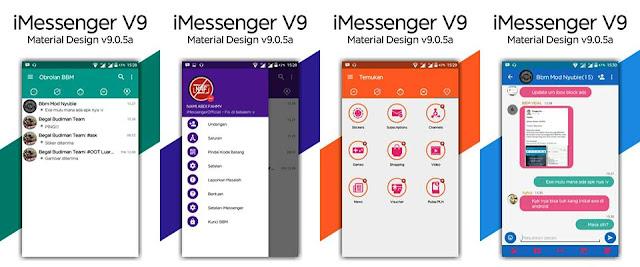 BBM iMessenger V9 Material Design v9.0.5a (BBM MOD Base 3.2.0.6 APK) Full Fitur New Style