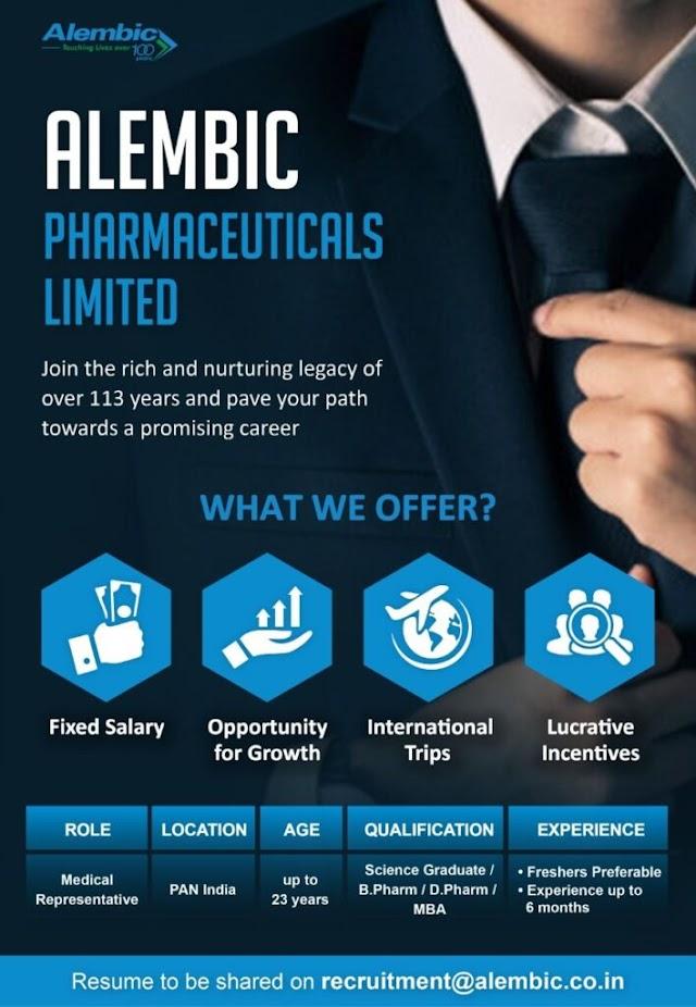 Alembic Pharmaceuticals | Hiring freshers & Expd for Medical Representative | Send CV