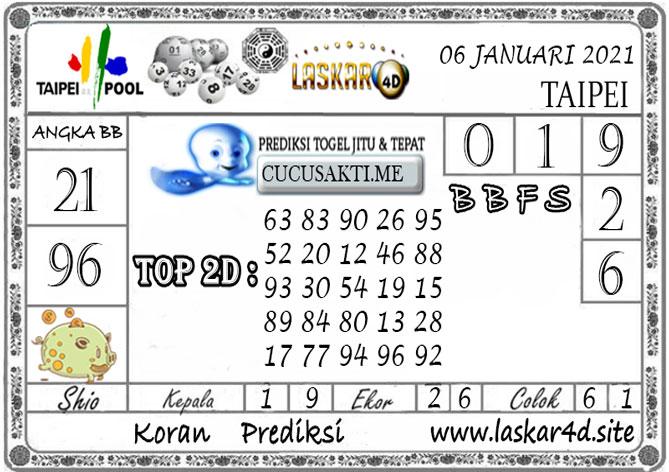 Prediksi Togel TAIPEI LASKAR4D 06 JANUARI 2021