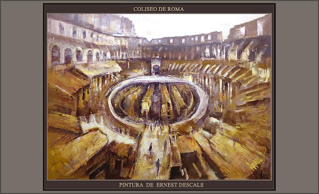 COLISEO-ROMA-PINTURA-ARTE-COLISEUM-ART-HISTORIA-IMPERIO ROMANO-CUADROS-ITALIA-PAISAJES-ARTISTA-PINTOR-ERNEST DESCALS-