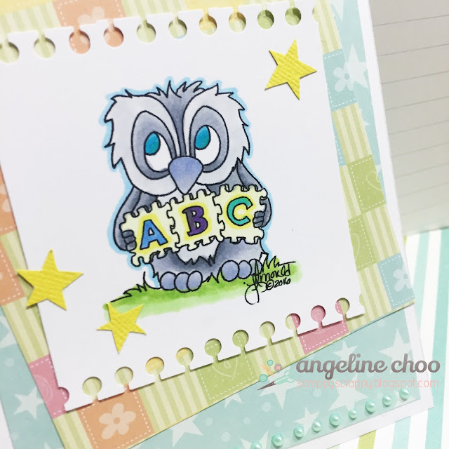 ScrappyScrappy: Brentwood Owl ABC #scrappyscrappy #jlostamps #stamp #card #abc #brentwoodowl #baby #cute #copic